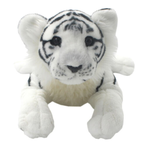 TAGLN Lifelike Stuffed Animals Toys White Tiger Plush Pillows for Kids 16 Inch