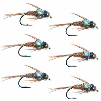 36 Artflies Pheasant Tail and Bead Thorax Nymph Flies ~ Choose Hook Sizes ~