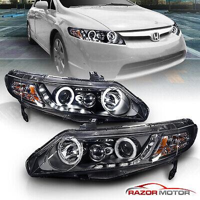 [Dual CCFL Halo]For 2006-2011 Honda Civic Sedan Black LED Projector (Civic Dual Halo Projector Headlights)