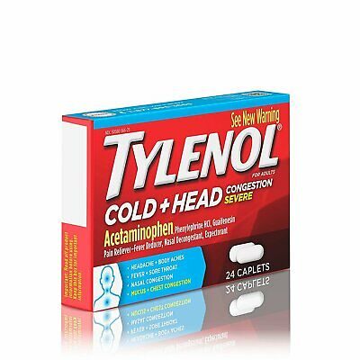 Tylenol Cold and Head Congestion Severe Acetaminophen Caplets, 24 Count, 48 Pack
