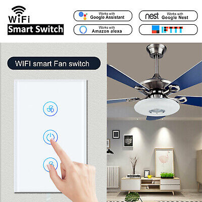 WiFi Smart Ceiling Fan Light Wall Switch Touch Panel For Google Home Alexa IFTTT