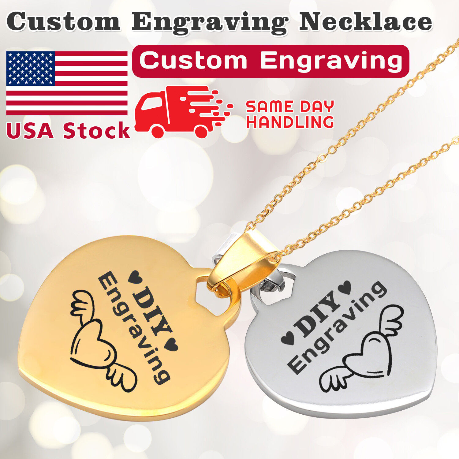 Personalized Engraved Custom Your Name Stainless Steel Necklace Pendant Jewelry Fashion Jewelry