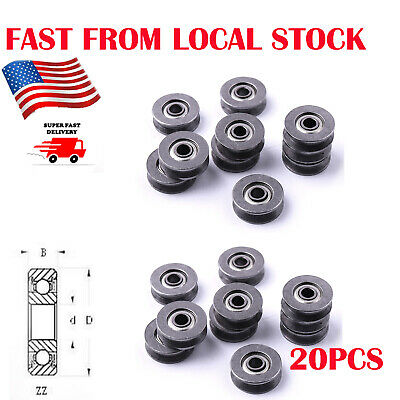 20pcs V Groove Guide Pulley Rail Ball Bearings 3x12x4mm Hcs Wheel Us Stock
