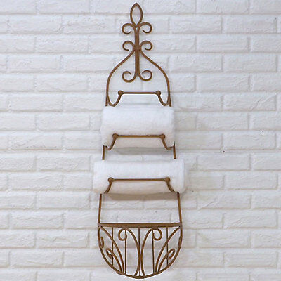 TUSCAN/COUNTRY WROUGHT IRON TOWEL RACK WITH BASKET - CQ1024