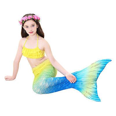 Swimmable Mermaid tail swimming girls kids swimsuit bikini sets cos Ariel - Kids Cos