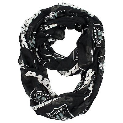 Oakland Raiders Nfl Sheer Infinity Logo Scarf   New