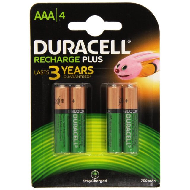 4x Duracell Plus AAA Doppelzimmer A 750mAh Wiederaufladbare Batterien Akkus