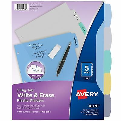 Avery 5-tab Plastic Binder Dividers Write Erase Multicolor Big Tabs 1 Set
