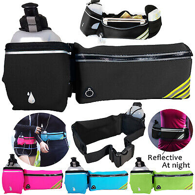 Sports Running Fanny Pack Waist Bum Bag with Water Bottle Holder Belt zip Pouch ()