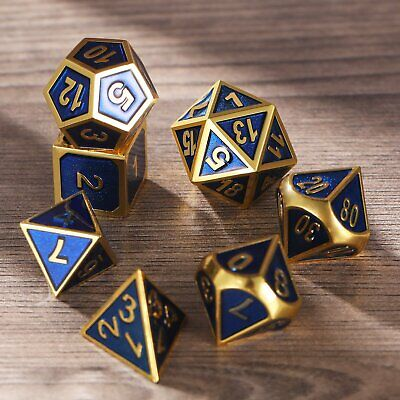 7Pcs Metal Polyhedral Dice Set DND RPG MTG Role Playing Dragons Table Game, BLUE