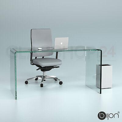 Glas Modern Schreibtisch (Glas Schreibtisch Echtglas (B/T/H) 140x70x73cm Glastisch Bürotisch Computertisch)