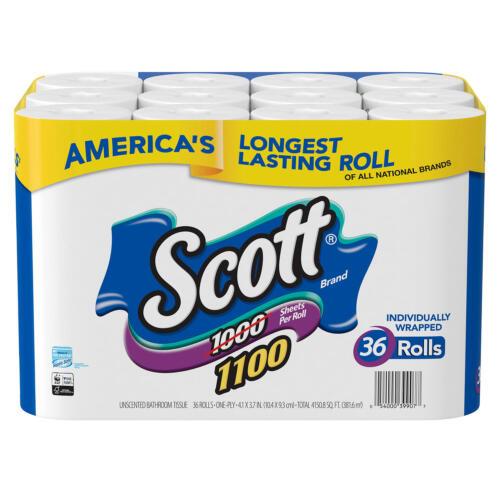 Scott 1100 Unscented Bath Tissue, 1-ply (36 Rolls = 1100 Sheets Per Roll)
