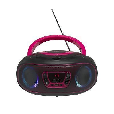 icht Radio USB Bluetooth MP3 AUX Denver TCL-212BT Pink (Rosa Disco-licht)