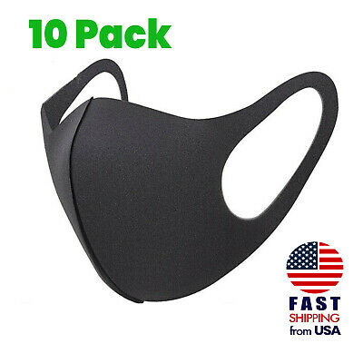 10 Pack Breathable Washable Mask Black Sponge Thin Lightweight Face Mask Cover