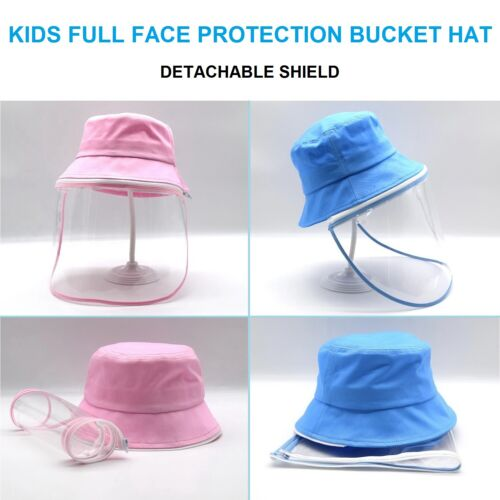 Toddlers Kids Full Face Cover Bucket Sun Hat Detachable Protective Shield Lot