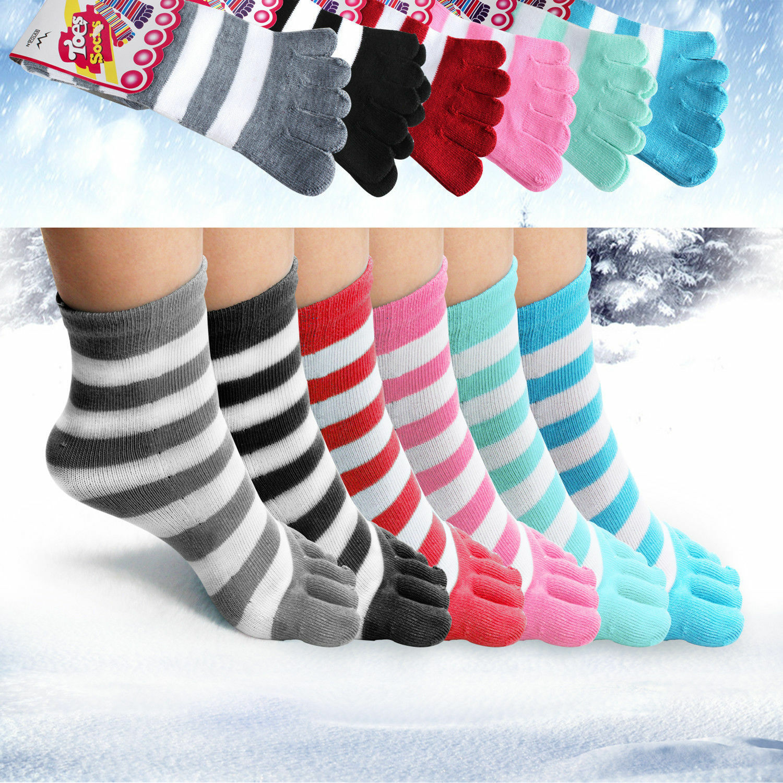 6 Pairs Toe Socks Soft Striped Ladies Women Girls Size 9-11