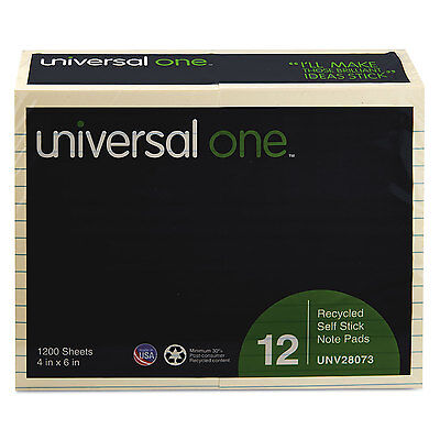 Universal One Recycled Sticky Notes 4 X 6 Lined Yellow 12 100-sheet Padspack