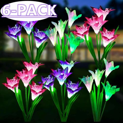6 PACK Solar Lily Flower Lights Outdoor Garden Stake LED Landscape Decor Lamp US