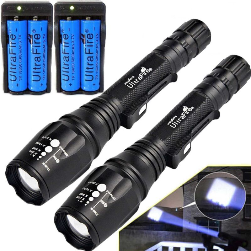 50000LM T6 LED Rechargeable High Power Torch Flashlight Lamp Light/&Charger