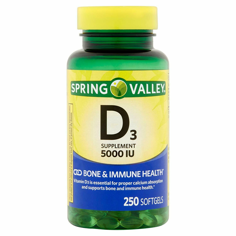 Spring Valley Vitamin D3 Softgels, 5000 IU, 250 Count Bottle