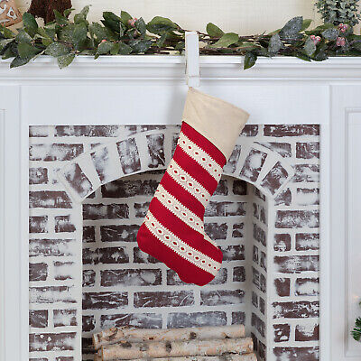 """VHC Brands Farmhouse 20""""x12"""" Stocking Red Christmas Fabric Loop Holiday Decor"""
