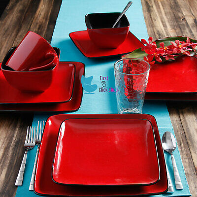Red Square Plates (Dinnerware Set Dishes Plates Cups Bowls Dinner 16-Piece Square Red Lunch)