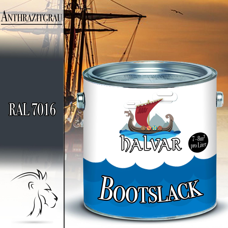 Halvar PU Bootslack Bootsfarbe Yachtlack Metall GFK Holz FARBAUSWAHL Klarlack Anthrazitgrau (RAL 7016)