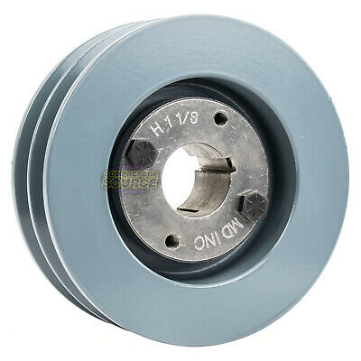 Cast Iron 5 2 Groove Dual Belt B Section 5l Pulley W 1-18 Sheave Bushing