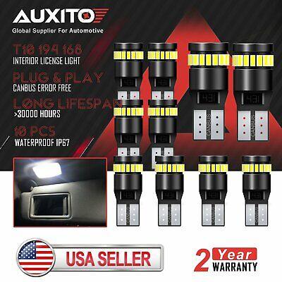 10x AUXITO Super Bright Canbus T10 194 168 LED light Bulb xenon white 24SMD 2825