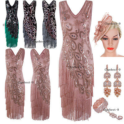 Retro 1920s Costume Womens Flapper Gatsby 20s Party Prom Evening Dress Plus Size - Flapper Dresses Plus Size