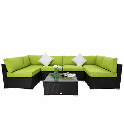 Kinbor 7PC Rattan Wicker Sofa Sectional Green Cushions Patio Furniture Outdoor