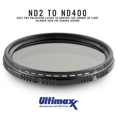 49mm Variable Neutral Density Filter ND2-ND400 by ULTIMAXX