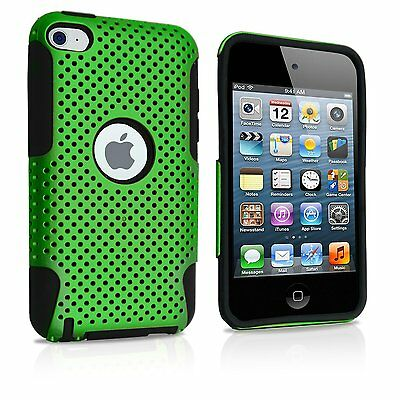 (For iPod Touch 4th Generation - HARD & SOFT SILICONE CASE COVER GREEN BLACK MESH)