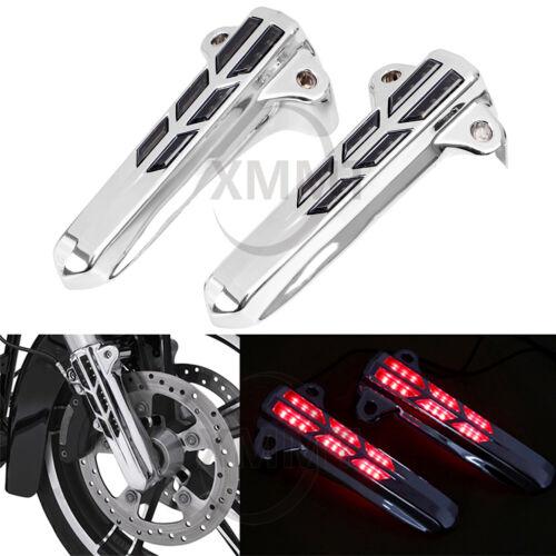 Pair ABS LED Light Forkini Lower Fork Leg Covers for 14up Harley FLHT FLHX FLHR
