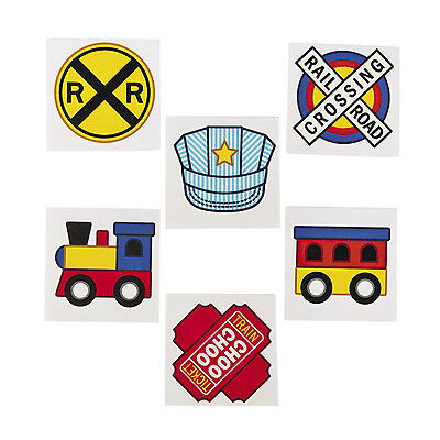 72 TRAIN tattoos RAIL ROAD CROSSING SIGN LOOT FAVOR BAGS birthday PARTY FAVOR
