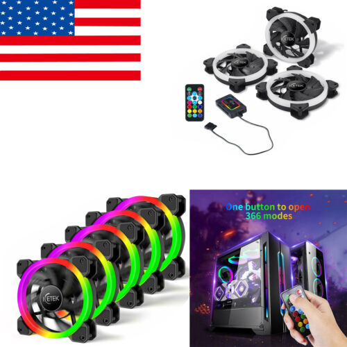 US Ship 5 Pack RGB Case Fans 120mm ICETEK Kit LED PC Compute