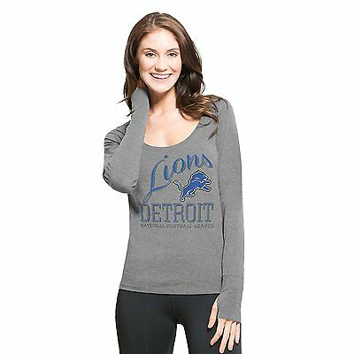 NFL Women's Detroit Lions '47 Forward Dash Long Sleeve Tee shirt Gray Large New