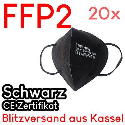 20x FFP2 Mund Nasen-Maske CE zertifiziert deutscher Versand schwarz Zertifikat
