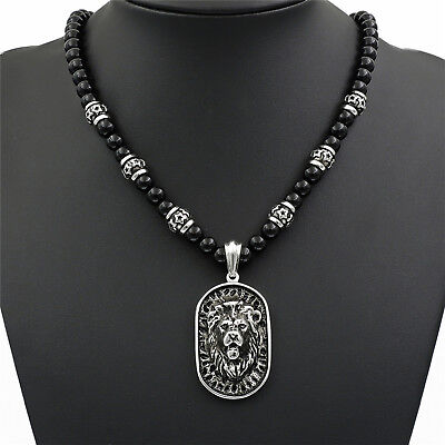 Men's 8mm Black Onyx Beads Silver LION Tag Stainless Steel Pendant Necklace Set (Black Onyx Pendant Necklace)