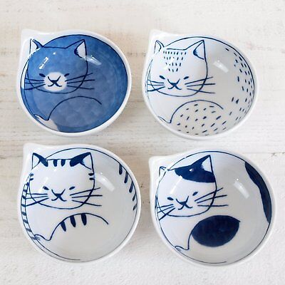 Hasami ware Little cats kitty blue white bowl (small) koneco set of 4  w/box