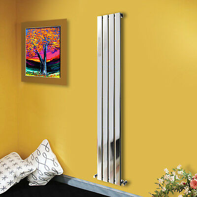 1800x272mm Chrome Single Panel Designer Vertical Bathroom Heating Radiator