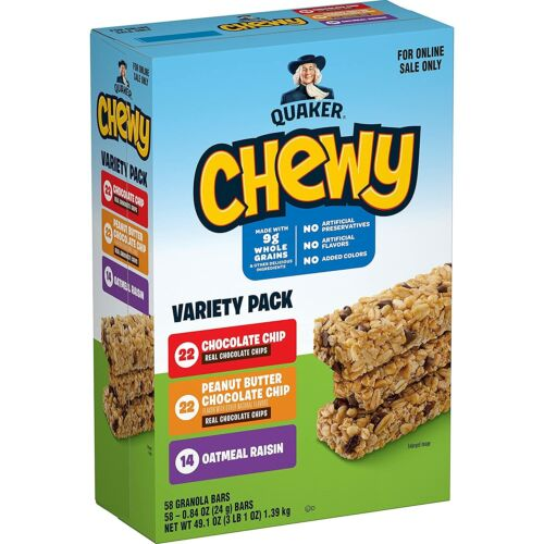 Quaker Chewy Granola Bars, 3 Flavor Variety Pack, (58 Pack) Free Shipping