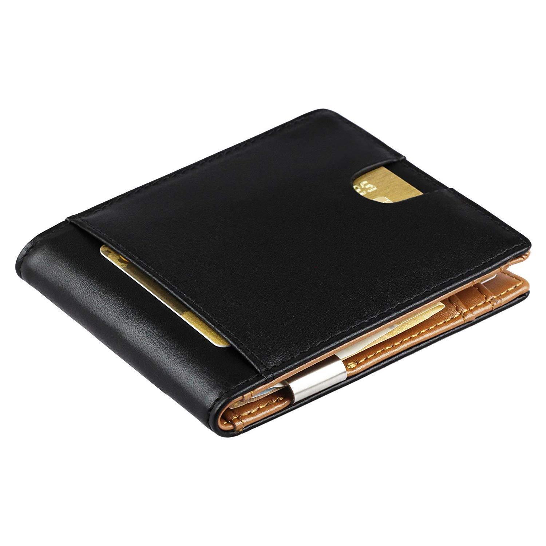 Geldbörse mit Geldklammer aus echt Leder - Geldbeutel mit RFID Schutz & Münzfach