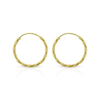 14K Round Yellow Gold Filled GF Spiral Twisted Endless Hoop Earrings 15mm 1/2""