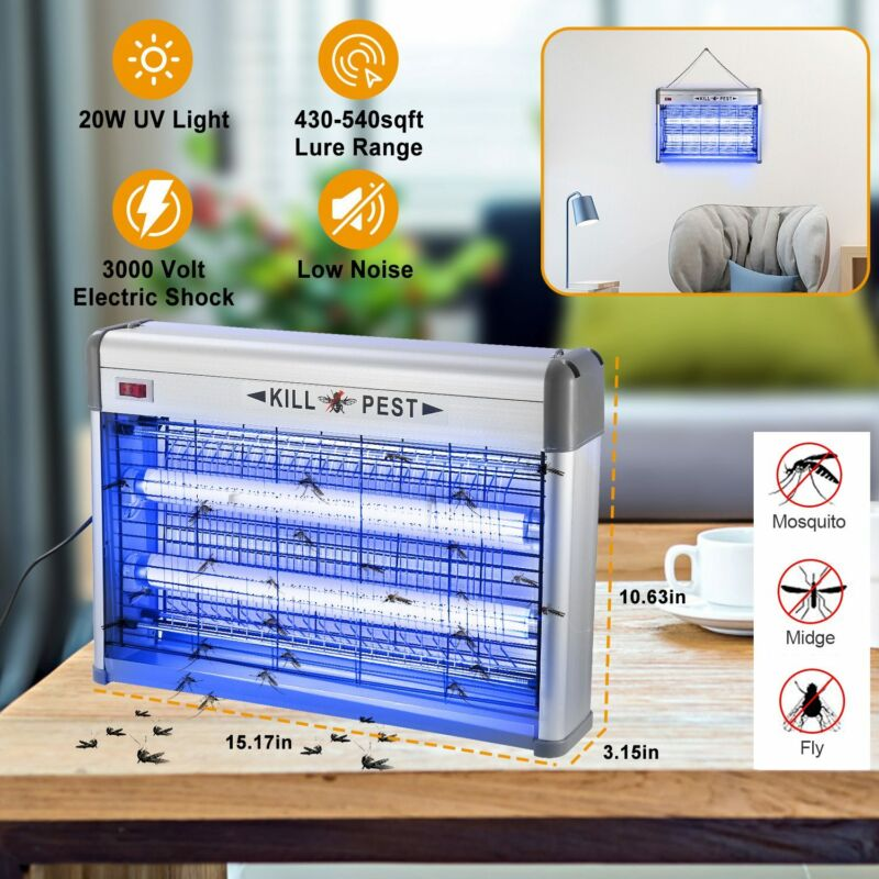 Indoor UV Lamp Bug Zapper Electric Insect Fly Pest Bug Gnat Mosquito Trap Killer