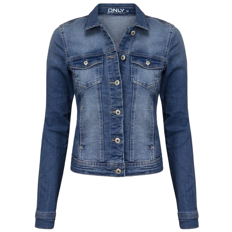 8db6083f075aeb ONLY Damen Jeansjacke Jeans Jacke Used Waschung mit Umlegekragen 2 Taschen