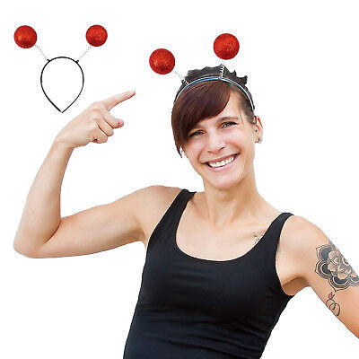 Haarreifen Rote Glitter Glitzer Antenne Kugeln Kostüm Accessoire (Kostüm Antenne)
