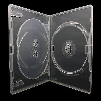 50 x 3 Fach AMARAY DVD Hüllen für 3 CD / DVD Hülle 14mm   Transparent   MIT TRAY