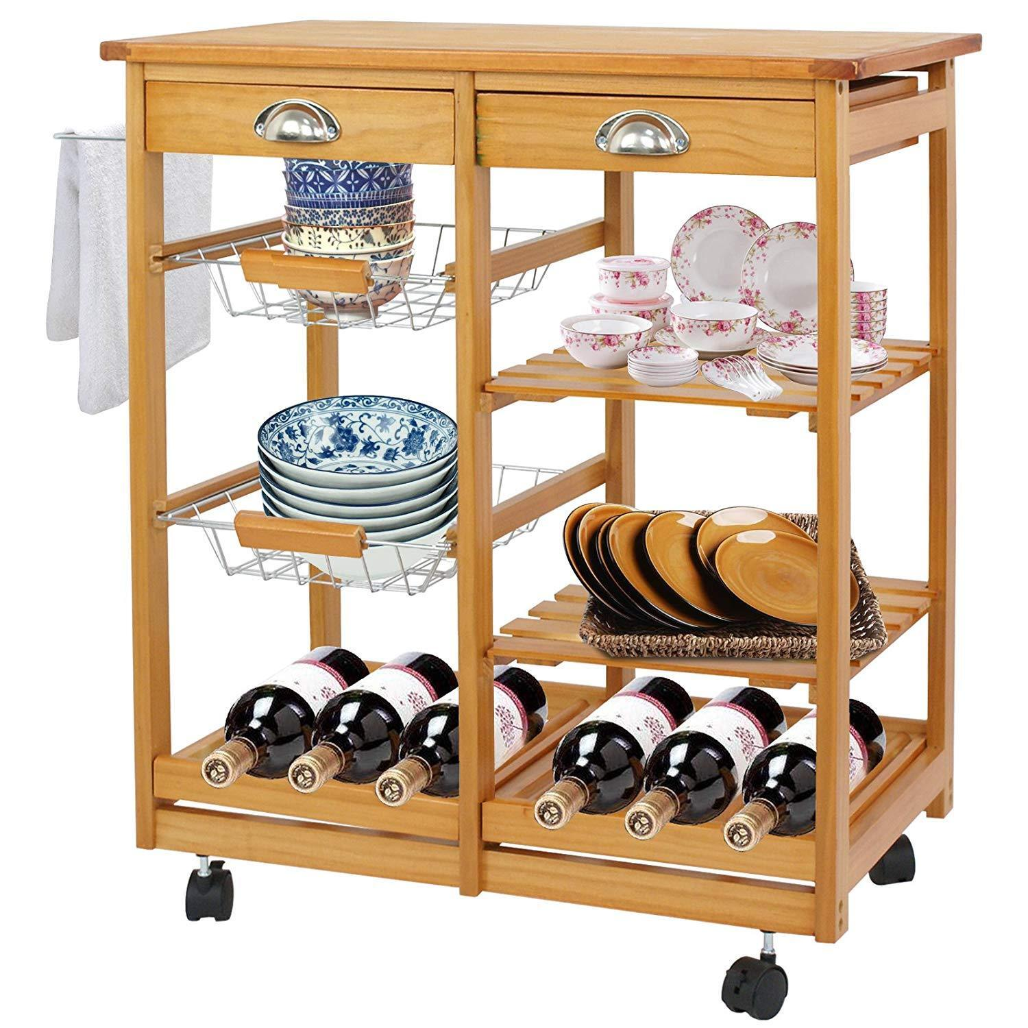 Wood Kitchen Storage Island Cart Dining Trolley Basket Stand Counter Top Table Home & Garden