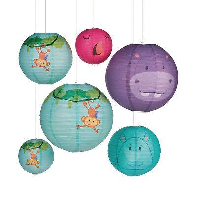 6 Zoo SAFARI Hanging Paper Lanterns BABY SHOWER birthday Party - Safari Baby Decorations